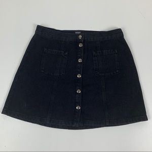 BDG Snap Front Black Denim Skirt